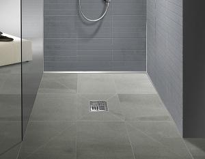 h2o.hu Dural Tilux burkolható zuhanytálca, zuhanypolc, lejtés takaró profil; üvegprofil lejtés takarással és vonalmenti folyóka rendszerben